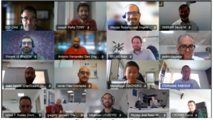 Screengrab showing RealTide project partners participating in a video conference